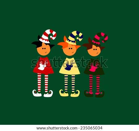 cute christmas elves illustration vector - stock vector