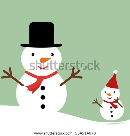 Cute Christmas greeting card with cartoon snowman family. Vector illustration Merry Christmas concept.