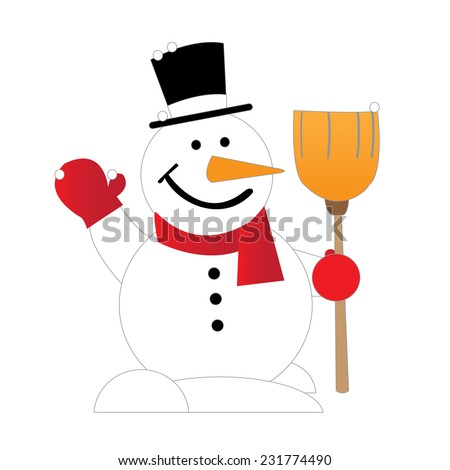 Cute Christmas greeting card with snowman