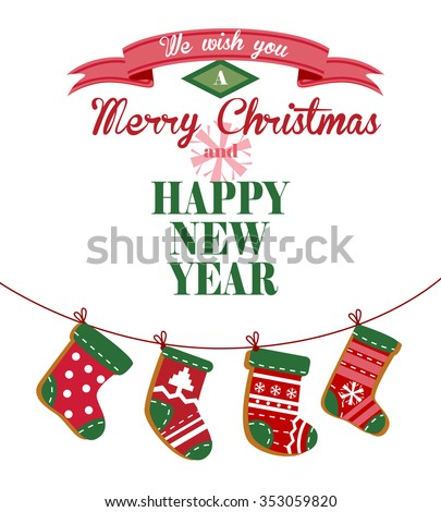 Cute Christmas greeting card with stockings hanging on a rope for banners and decorations. - stock vector
