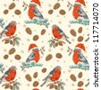 Cute Christmas hand drawn seamless retro background with bullfinch bird with red breast sitting on a tree with holly berries and fir cones - stock photo