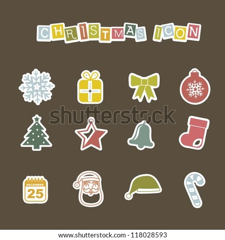 cute christmas icons over brown background. vector illustration