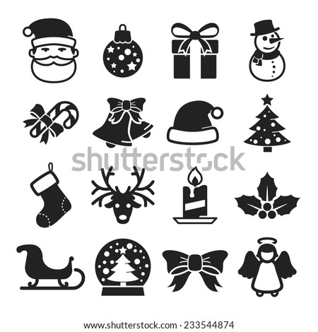 Cute christmas icons set // Black & White - stock vector