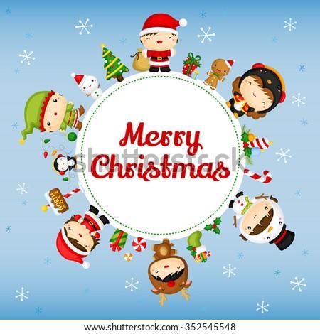 Cute Christmas Kids Card - stock vector