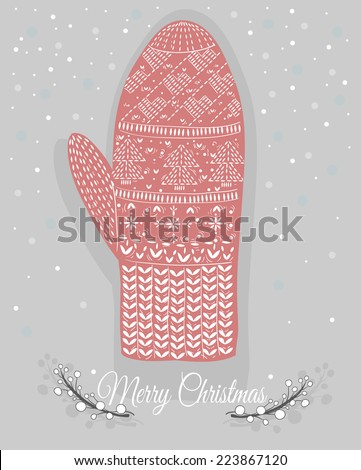 Cute christmas mitten with hearts and christmas trees ornaments - stock vector