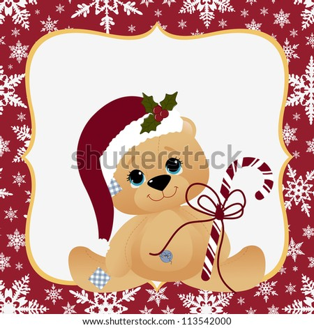 Cute christmas postcard template - stock vector
