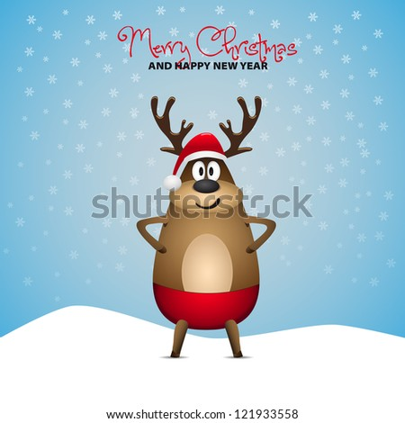 Cute Christmas Reindeer - winter landscape - Merry Christmas and happy new year