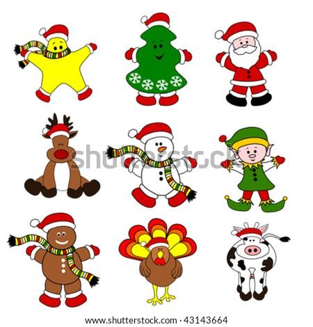 Cute Christmas Santa Set 09 - stock vector