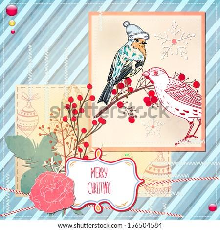 Cute Christmas scrapbook Card with birds - stock vector