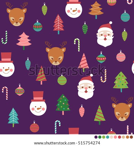 Cute christmas seamless pattern with santa claus, reindeer, snowman , ball, candy cane and pine tree illustration.