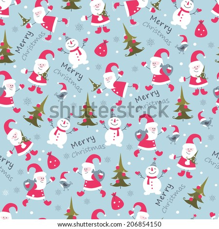 Cute Christmas seamless pattern with Santa ,snowman and christmas tree