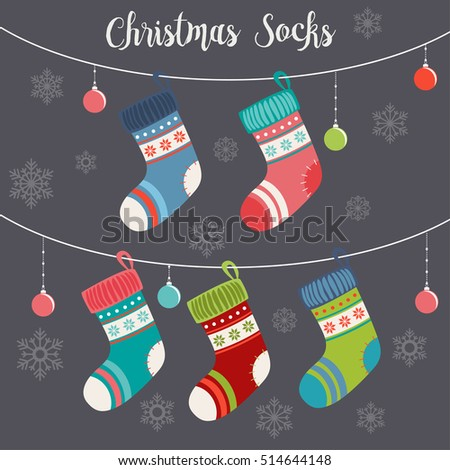 Cute Christmas Socks set - vector Illustration
