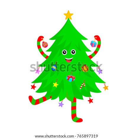 Captivating Cute Christmas Tree Cartoon Characters Design. Merry Christmas And Happy  New Year. Vector Illustration