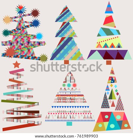 Cute Christmas Trees Funky Colors Stock Vector 761989903 ...