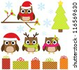 Cute Christmas vector set with funny owls - stock photo