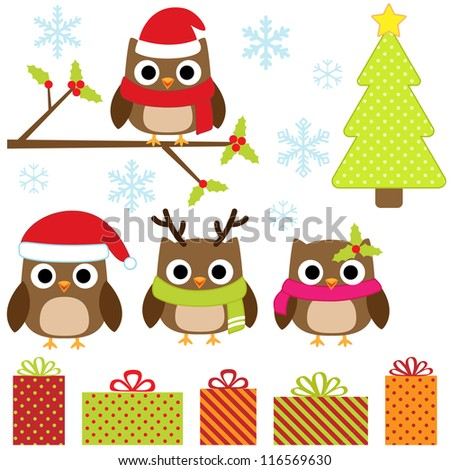 Cute Christmas vector set with funny owls - stock vector