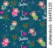 Cute christmas wallpaper. I love christmas. - stock vector