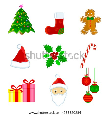 Cute christmas web icon / clipart set isolated on white background. - stock vector