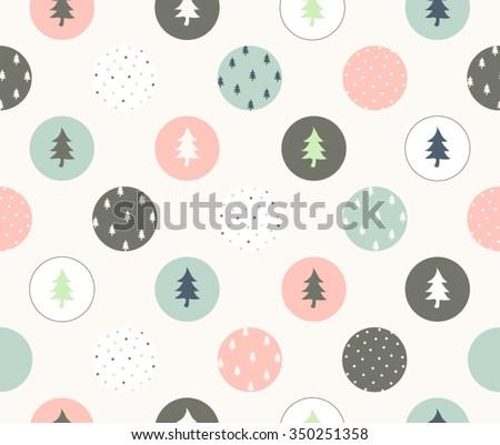 Cute Christmas with color circle design pattern, seamless, wallpaper, vector image, vector art, vector design - stock vector
