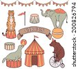 Cute circus animals set: tiger, elephant, seal, bear - stock vector