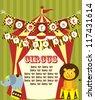 cute circus card design. vector illustration - stock vector