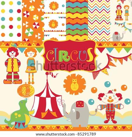 Cute Circus party scrapbook - stock vector