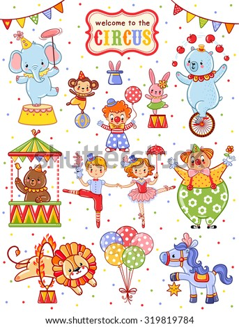 Cute circus set.  - stock vector