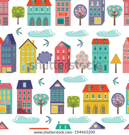 Cute city seamless background. Vector illustration