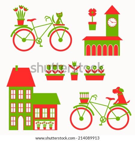 Cute city set. Vector illustration.