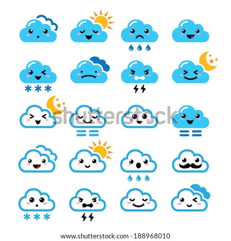 Cute cloud - Kawaii, Manga icons with different expressions - happy, sad, angry  - stock vector
