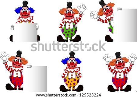 cute clown collection - stock vector