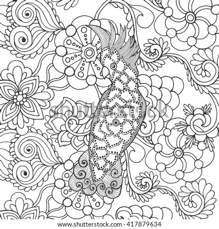 Cute cockatoo in fantasy flowers. Animals. Hand drawn doodle. Ethnic patterned illustration. African, indian, totem tatoo design. Sketch for avatar, tattoo, poster, print or t-shirt. - stock vector