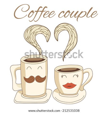 Cute coffee cups made in vector. - stock vector