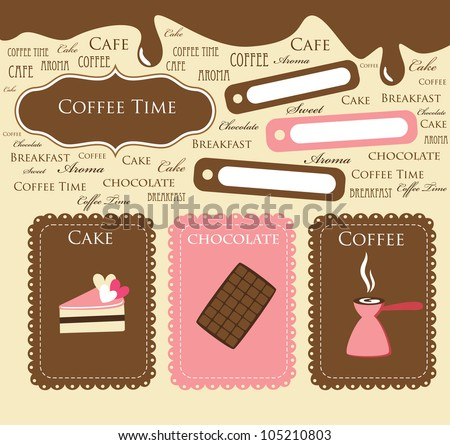 cute coffee time scrap collection. vector illustration