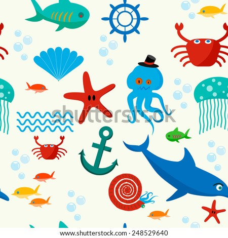 Cute collection of cartoon sea animals characters for children dormitory wallpaper decorative tileable abstract seamless vector illustration. Flat design.