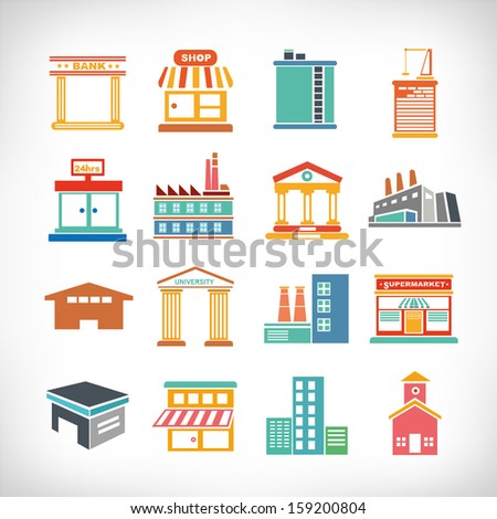 Cute collection of City and Town Buildings - stock vector