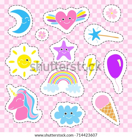 Cute collection of doodle girly magic colorful pop art patches without contour.