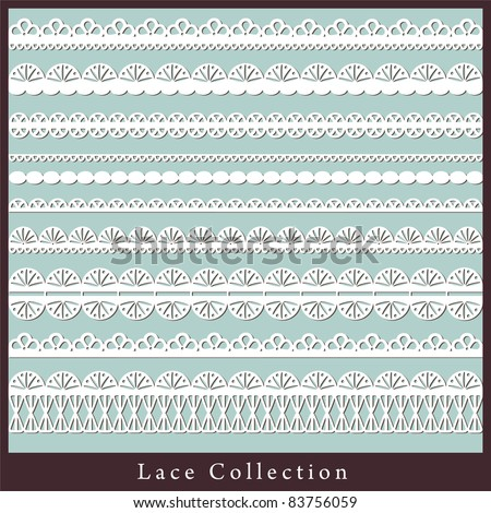 cute collection of lace. vector illustration - stock vector