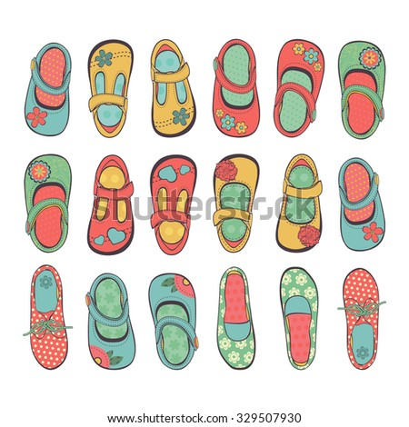 Cute collection of little girls shoes. Illustration in vector format - stock vector