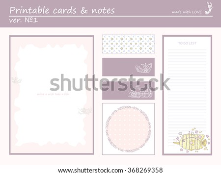 Cute collection of romantic printable cards, notes, stickers,  with funny cartoon fish and marine design. Set of purple color paper    - stock vector