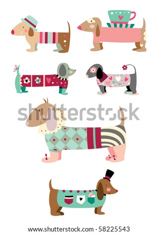 "Cute collection of ""sausage"" dogs (dachshund). - stock vector"