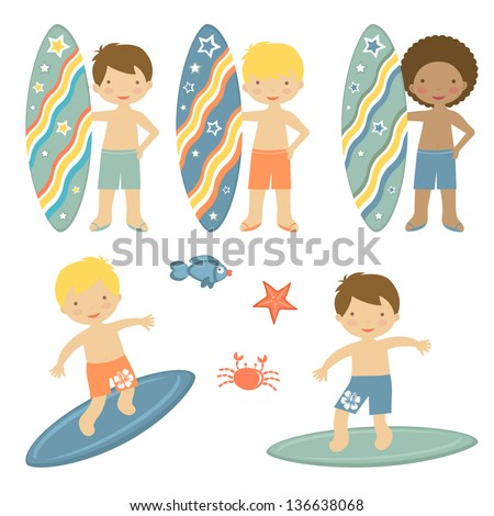 Cute collection of surfing boys characters - stock vector