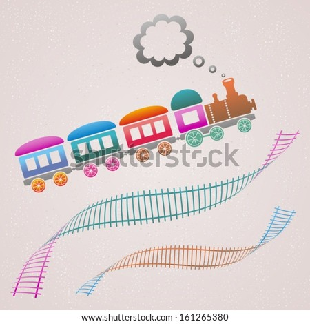 Cute colored retro card with train and track - stock vector