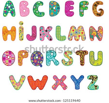 Cute colored textured alphabet.  Letters made with original patterns and masks. - stock vector