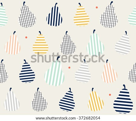 Cute colorful abstract pear with stripes line art on smooth background design pattern, background, seamless, wallpaper. Vector image, vector art, vector design, vector illustration  - stock vector