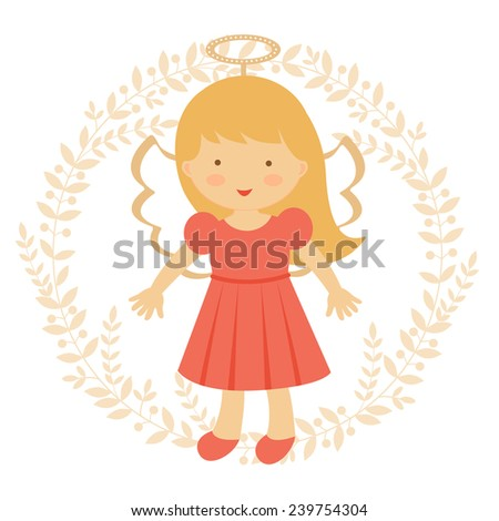 Cute  colorful angel illustration in vector format - stock vector