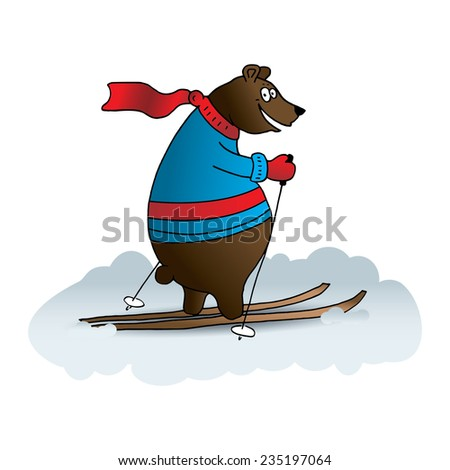 Cute, colorful bear with ski  - stock vector