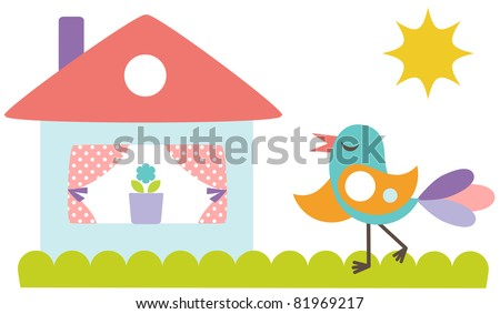 Cute colorful bird with little house