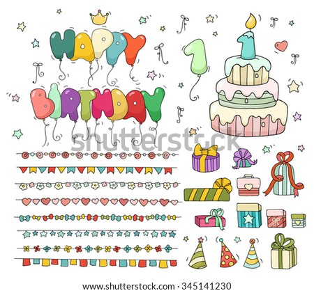 Cute colorful birthday set. Cartoon birthday cake with candle number one, balloons, garlands, gift boxes. Doodle collection for kids party, invitations. All objects are grouped and isolated on white.
