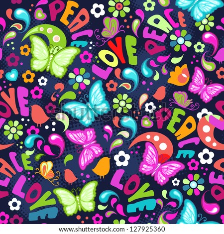 cute colorful butterflies and flowers seamless background - stock vector